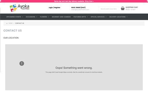 Screenshot of Contact Page ayokaflowers.com - Contact Us - captured May 31, 2017
