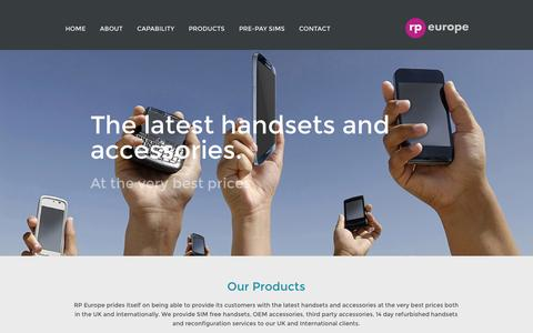 Screenshot of Products Page rpeurope.co.uk - RP Europe: Products - captured Oct. 6, 2014