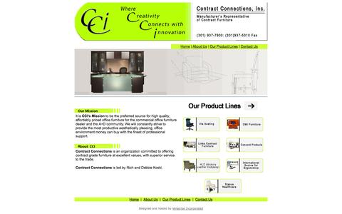Screenshot of Home Page ccimd.com - Contract Connections, Inc: Manufacturer's Representatives of Contract Furniture - captured Oct. 1, 2014
