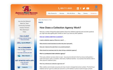 Screenshot of FAQ Page americanprofit.net - How collection agencies operate|American Profit Recovery  | American Profit Recovery - captured Oct. 8, 2017
