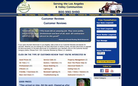 Screenshot of Testimonials Page theelectricconnection.com - Electrical Customer Reviews - The Electric Connection - captured Oct. 26, 2014