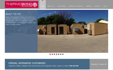 Screenshot of Home Page thermobond.com - Thermo Bond Buildings  | Find information on quality custom equipment shelters and cabinets from Thermo Bond Buildings. - captured Oct. 9, 2014