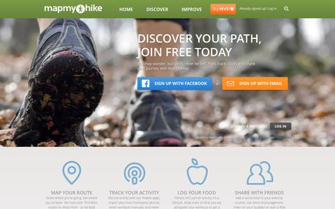 Screenshot of Home Page mapmyhike.com - Resource for Hiking Trails and Hiking Maps | MapMyHike - captured Sept. 23, 2014
