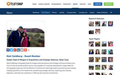 Screenshot of Team Page teamsnap.com - Matt Goldberg - Board Member - captured April 21, 2018