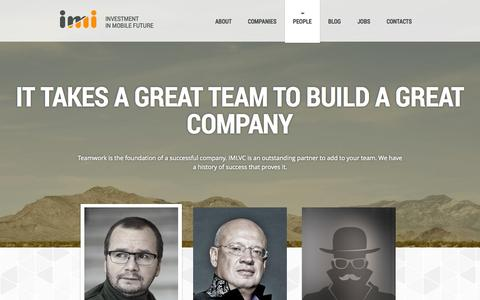Screenshot of Team Page imi.vc - IMI.VC | people - captured Sept. 19, 2014