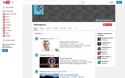 Screenshot of YouTube Page youtube.com - ridersagency  - YouTube - captured Oct. 26, 2014