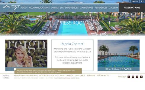Screenshot of Press Page montagehotels.com - Laguna Beach Resorts in Southern California | Montage Laguna Beach - Press Room - captured July 2, 2016