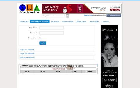 Screenshot of Login Page schoolswelike.com - Schools We Like - captured Oct. 4, 2014