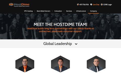 Screenshot of Team Page hostdime.com - Our Team - captured Sept. 21, 2018