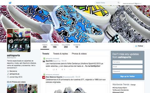 Screenshot of Twitter Page twitter.com - ashisports (@ashisports) | Twitter - captured Oct. 23, 2014