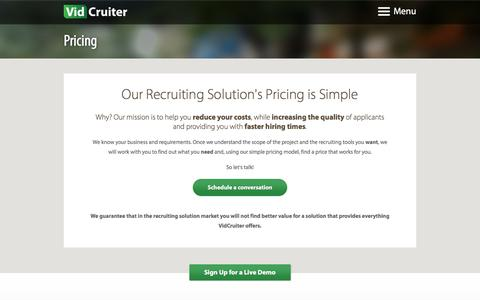 Screenshot of Pricing Page vidcruiter.com - Recruiting Solution and Recruiting Software best pricing - VidCruiter - captured Jan. 10, 2016