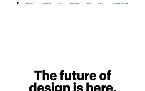 Screenshot of Home Page framer.com - Framer -         Interactive Design Tool - captured Sept. 20, 2018