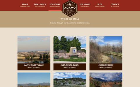Screenshot of Locations Page adamohomes.com - Adamo Homes: Our Locations - captured Nov. 2, 2014
