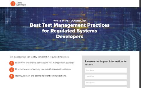 Screenshot of Landing Page jamasoftware.com - Best Test Management Practices for Regulated Systems Developers | Jama Software - captured April 25, 2017