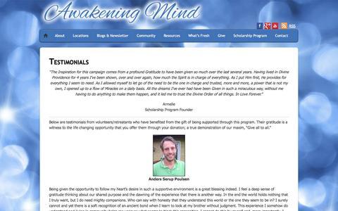 Screenshot of Testimonials Page awakening-mind.org - Testimonials - Foundation for the Awakening Mind - captured Oct. 1, 2014