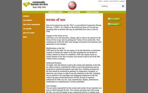 Screenshot of Terms Page chservices.org - Terms of Use - captured Oct. 3, 2014