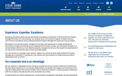 Screenshot of About Page sterlingkaramar.com - Real Estate Asset Management | Sterling Karamar - captured Oct. 7, 2014