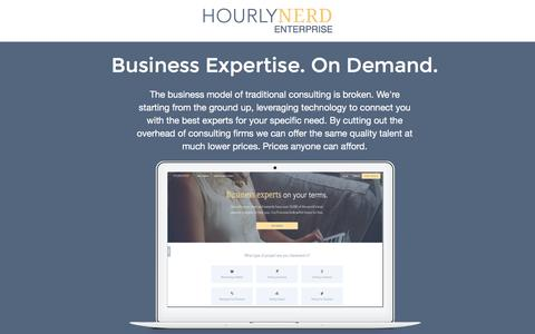 Screenshot of Landing Page hourlynerd.com - HourlyNerd. The Future of Consulting - captured Feb. 10, 2016