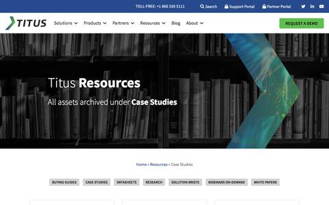 Screenshot of Case Studies Page titus.com - Case Studies Archives   Titus - captured Jan. 18, 2020