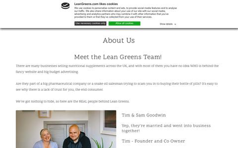 Screenshot of About Page leangreens.com - About Us - Lean Greens - captured Nov. 14, 2019
