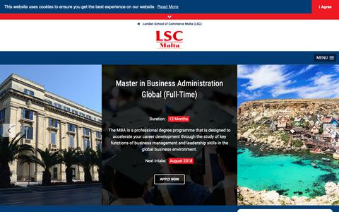 Screenshot of Home Page lscmalta.edu.mt - London School of Commerce Malta (LSC) • Home - captured Sept. 30, 2018
