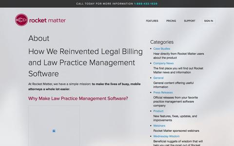 Screenshot of About Page rocketmatter.com - Legal Billing and Law Practice Management Software by Rocket Matter - captured Sept. 25, 2014