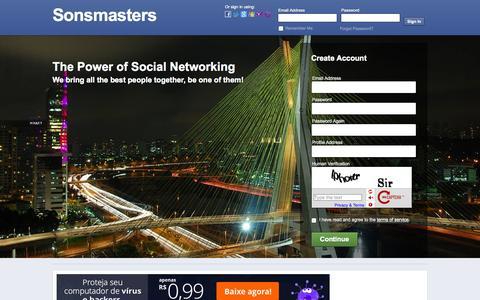 Screenshot of Home Page sonsmasters.com.br - Sonsmasters - Landing Page - captured Jan. 23, 2015