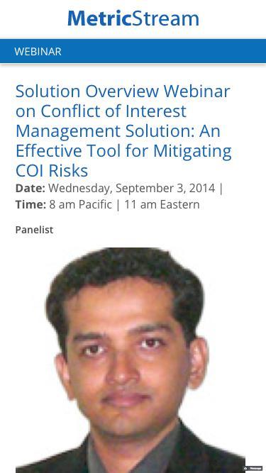 WEBINAR: Solution Overview Webinar on Conflict of Interest Management Solution: An Effective Tool for Mitigating COI Risks