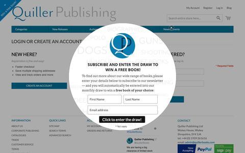 Screenshot of Login Page quillerpublishing.com - Customer Login | Quiller Books - captured Sept. 30, 2018