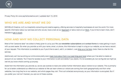 Screenshot of Privacy Page sayhellocreative.com - Privacy Policy | SAYHELLO Creative - captured July 25, 2018