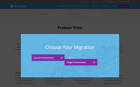 Screenshot of Trial Page metalogix.com - Product Trials   Free O365 + SharePoint Tools   Metalogix - captured April 2, 2018