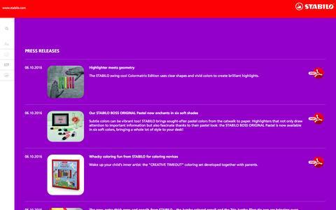 Screenshot of Press Page stabilo.com - Press   STABILO.com - captured Nov. 18, 2016