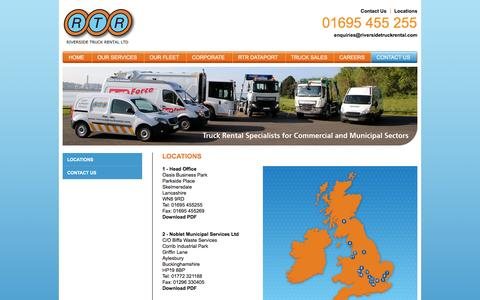 Screenshot of Contact Page Locations Page riversidetruckrental.com - Truck rentals Widnes, Basildon, Manchester, Daventry, Heathrow, Barrow-in-Furness, Colchester, Solihull, Stratford-upon-Avon, Scotland - captured March 14, 2016