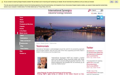 Screenshot of Testimonials Page international-synergies.com - Testimonials - captured Oct. 6, 2014