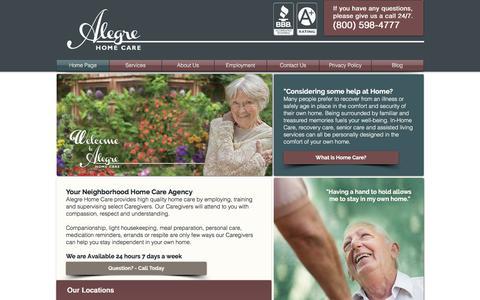Screenshot of Home Page alegrecare.com - Alegre Home Care - captured Oct. 7, 2017