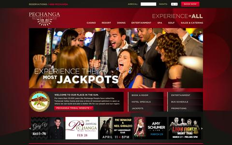 Screenshot of Home Page pechanga.com - Home - Pechanga Resort & Casino - captured Jan. 23, 2015