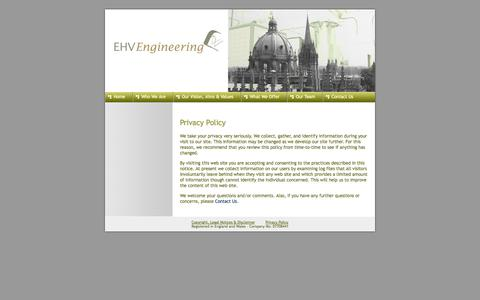 Screenshot of Privacy Page ehv-engineering.com - Privacy Policy - Economic & Human Value Engineering Ltd - captured Oct. 1, 2014