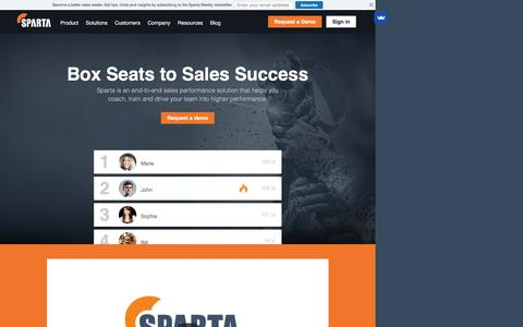 Sparta - Sparta is an end-to-end sales performance solution that helps you coach, train and drive your team into higher performance.