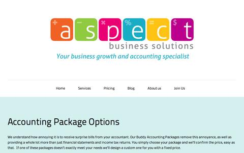 Screenshot of Pricing Page aspectbusiness.co.nz - Accounting Package Options - captured Oct. 4, 2014