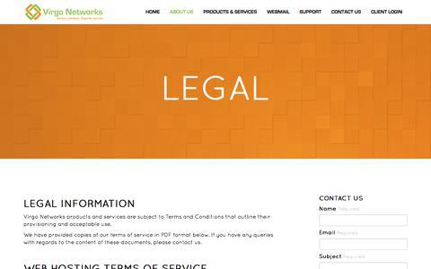 Screenshot of Terms Page virgo-networks.co.uk - Virgo Networks :: Legal - captured Nov. 7, 2017