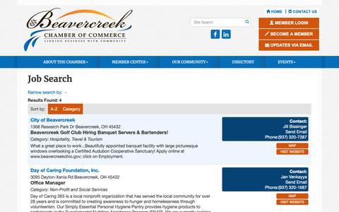 Screenshot of Jobs Page beavercreekchamber.org - Job Search - Beavercreek Chamber of Commerce , OH - captured Oct. 5, 2018