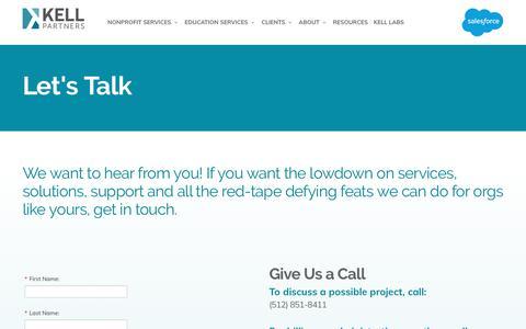 Screenshot of Contact Page kellpartners.com - Contact Us - captured Jan. 15, 2020