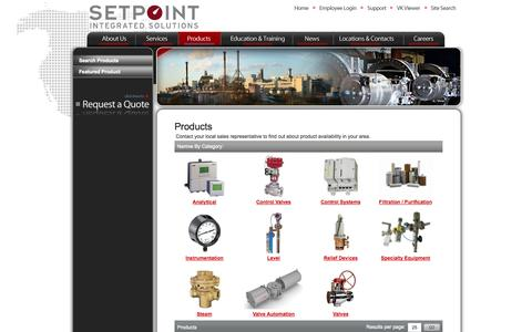 Screenshot of Products Page setpointis.com - Analyzers | Control Systems | Valves | Transmitters | Filtration - captured Oct. 5, 2014