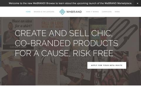 Screenshot of Home Page webrand.com - WeBRAND | INFLUENCER MARKETING, BRANDING, LICENSING, CROWDFUNDING - captured Sept. 17, 2014