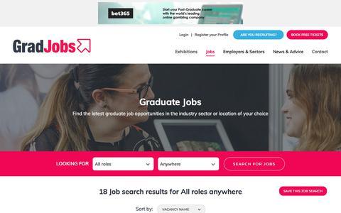 Screenshot of Jobs Page gradjobs.co.uk - Graduate jobs and opportunities | GradJobs - captured July 21, 2018