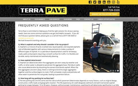 Screenshot of FAQ Page terrapave.com - FAQs   Terra Pave - captured Oct. 20, 2018