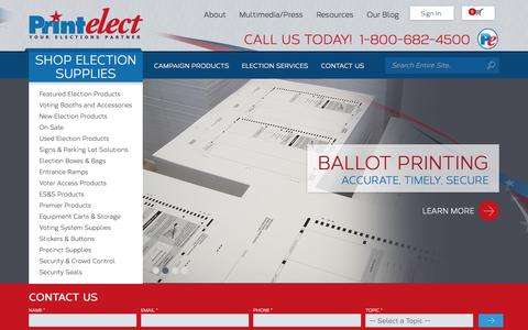 Screenshot of Home Page printelect.com - Voting Booths | Election Products | Campaign Services | Printelect - captured Sept. 30, 2014