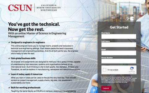 Screenshot of Landing Page csun.edu - Master of Science in Engineering Management - captured Dec. 29, 2017