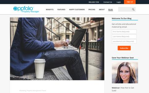 Screenshot of Blog appfolio.com - The Official AppFolio Blog - The official blog of AppFolio, Inc., makers of the complete online property management software solution, AppFolio Property Manager. - captured Feb. 3, 2016