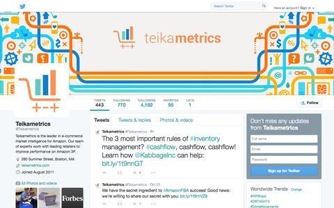 Screenshot of Twitter Page twitter.com - Teikametrics (@Teikametrics) | Twitter - captured Oct. 26, 2014